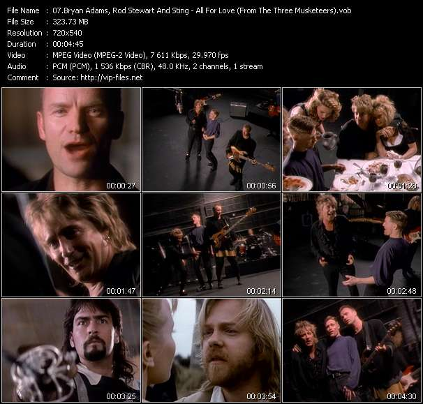 """B. Adams, Rod Stewart And Sting - All For Love (From """"The Three Musketeers"""")"""